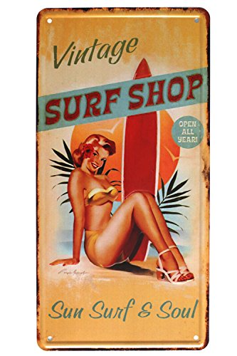 Vintage Surf Shop Metal Tin Sign, Sun Surfer Surfboard Plate Plaque License Plate Home Bar Wall Decor, 6 X 12 inch ()