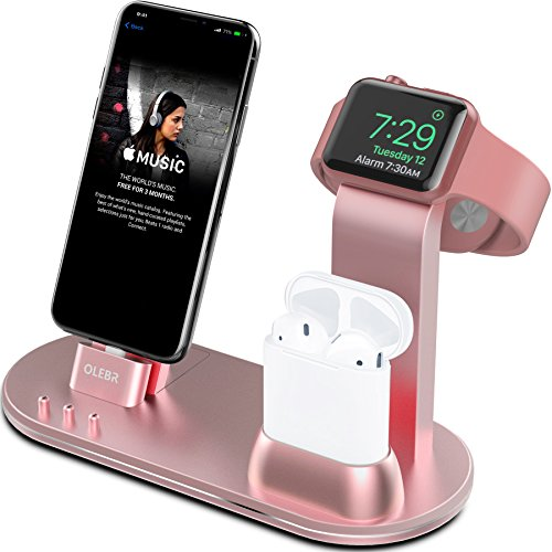 OLEBR Apple Watch Stand Apple Watch Charging Stand AirPods Stand Charging Docks for Apple Watch Series 3/2/1/ AirPods/iPhone X/8/8Plus/7/7 Plus /6S /6S Plus/iPad-Rose Gold by OLEBR