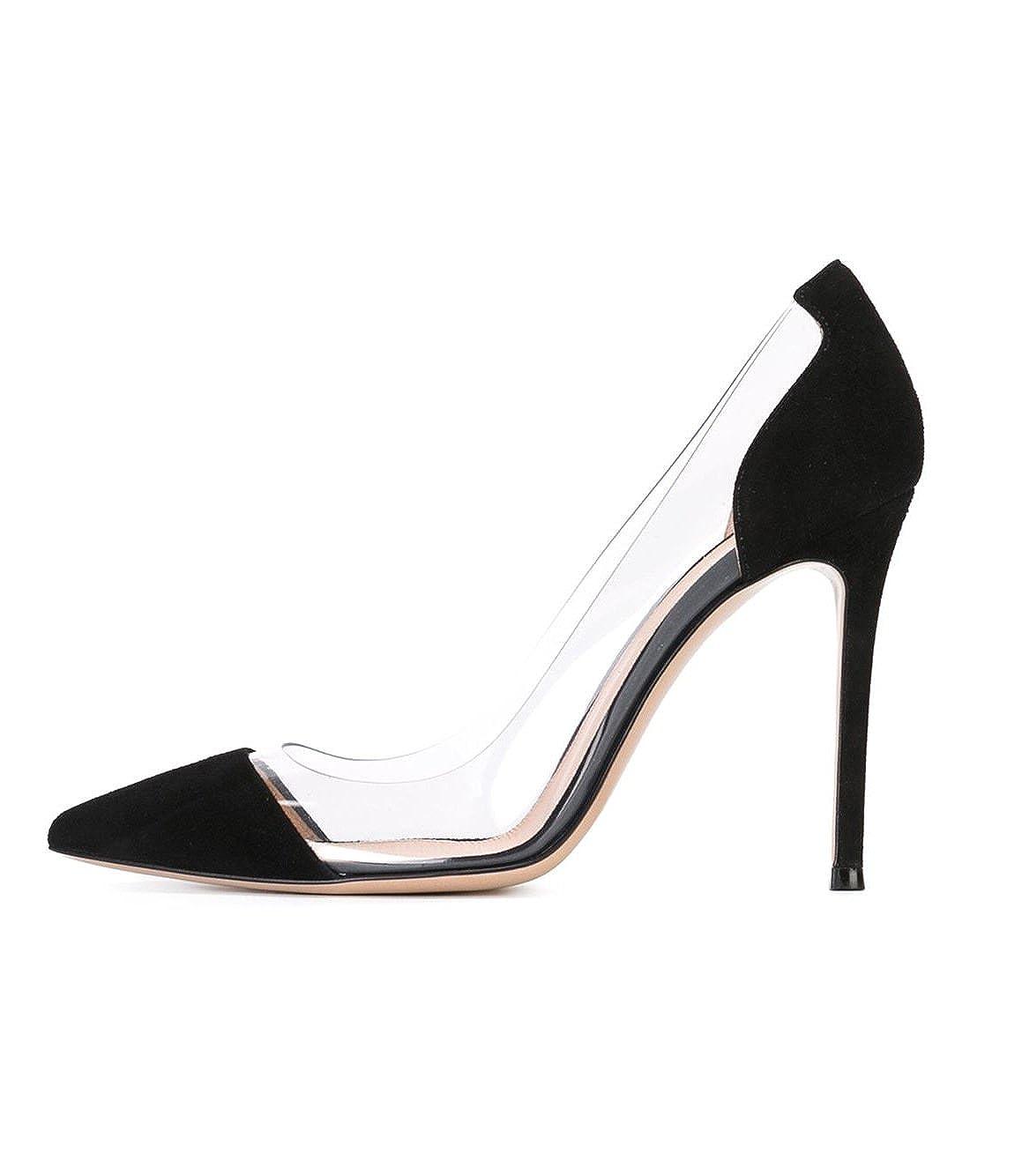 FYM Schuhe DYF Transparent Frauen Nackt Scharfe Feine Schuhe High Heel Transparent DYF Office, 10 cm, Schwarz, 39 - dfd050