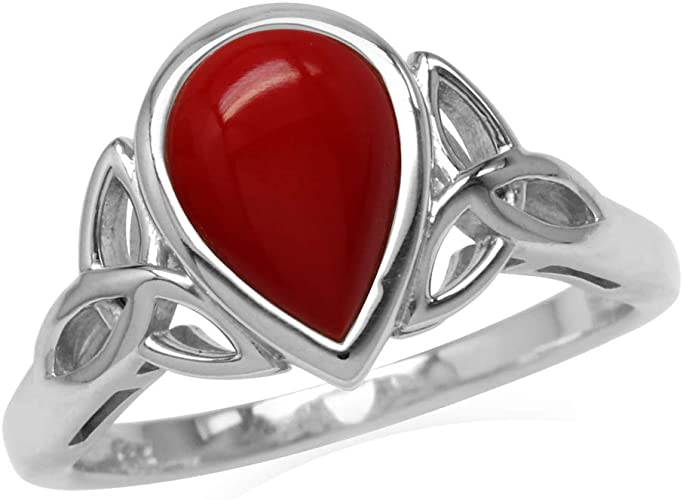 Petite Created Red Color Inlay White Gold Plated 925 Sterling Silver Knot Ring