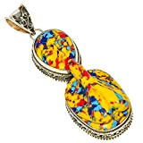 Lab-Created Yellow Mosaic Jasper Carved Praying Lady Cameo .925 Silver Plated Pendant Jewelry Ethnic Look
