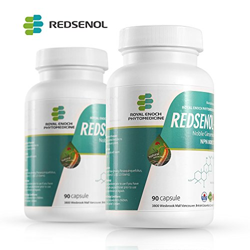Redsenol – Contain 16 Rare Ginsenosides: Rk2 Rg5 Rh2 Rk1 Rk3 – Panax Ginseng Extract , 12% Rare Ginsenosides – 2 Bottles x 90 Capsules by Redsenol-1