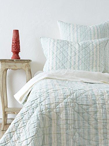 Amity Home Jacob Stripe Quilt Set, Queen, Sea (Glass Quilt)