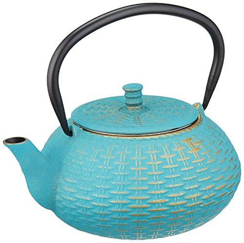 ExcelSteel 414t 0.8 L Asian Cast Iron Teapot, Teal