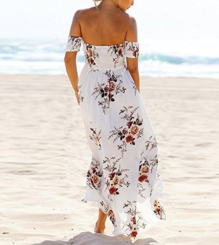 Vansha Women's Boho Off Shoulder Strapless Summer Beach Floral Slit Maxi Dress