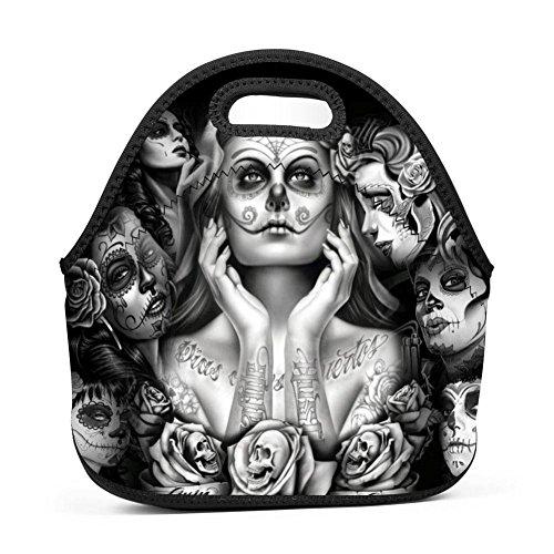 Sugar Skull Girl Lunch Bag Multi-Purpose Bento Pouch Outdoor Tour School Office Picnic Lunchbox Portable Satchel Baby Bag Handbag