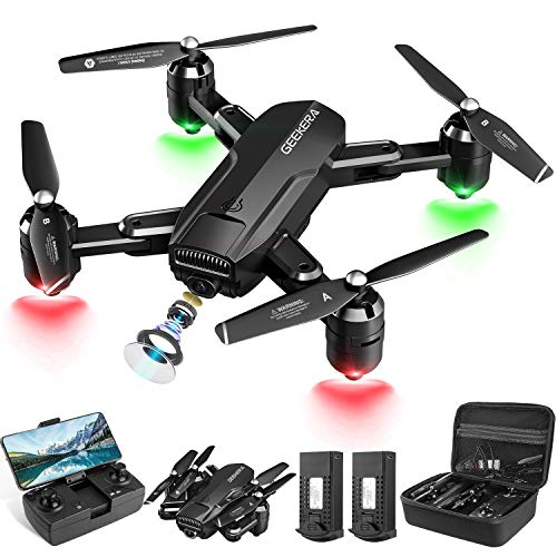 Drones with Camera, GEEKERA 1080P HD FPV RC Foldable Drone for Adult with Live Video, Wide-Angle, Selfie, 3D Flips…