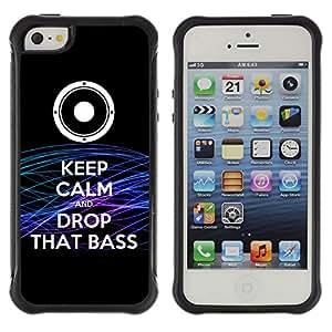 ZAKO Cases / Apple Iphone 5 / 5S / Keep Calm & Drop THAT BASS / Robusto Prueba de choques Caso Billetera cubierta Shell Armor Funda Case Cover Slim Armor