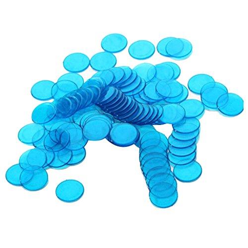 Perfk 約100個 3cm プラスチック ビンゴチップ ゲーム ポーカーチップ おもちゃ 半透明 デザイン 全6色  - 青