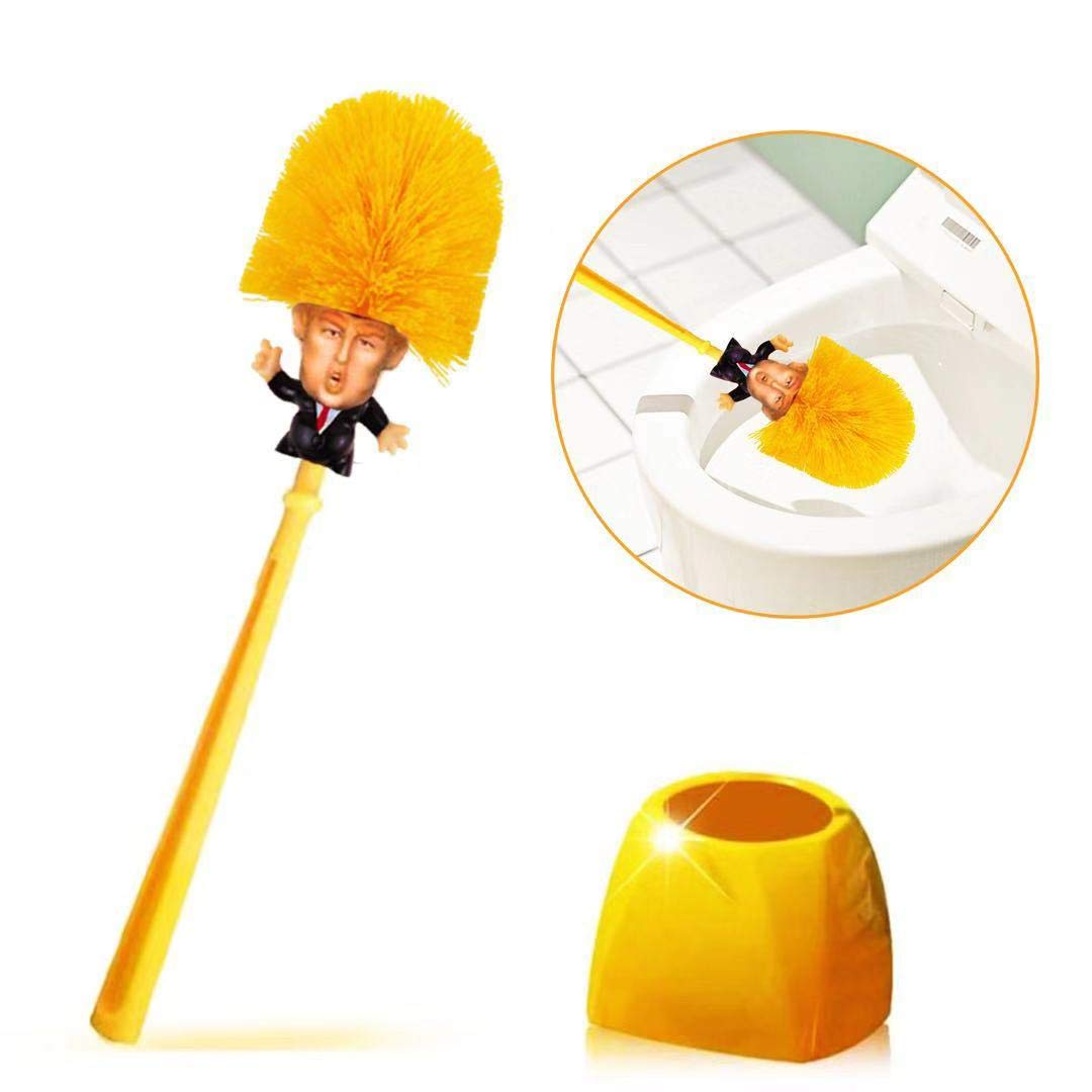 Donald Trump Toilet Brush - Vimbo Original Trump Toilet Brush Make Your Toilet Great Again with Base Holder by Vimbo