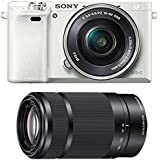 Sony Alpha a6000 Mirrorless Camera (White) w/ 55-210mm & 16-50mm Power Zoom Lens (Silver)