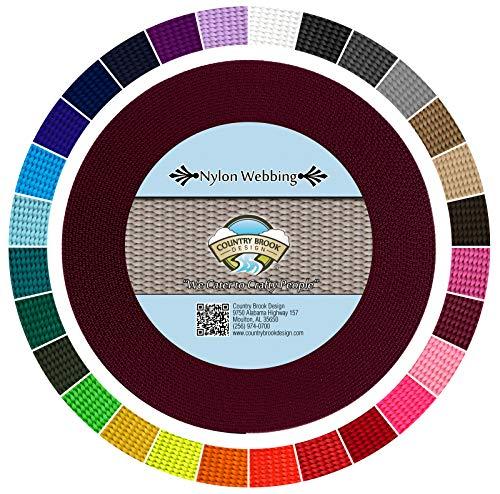 Country Brook Design - Burgundy 3/4 Inch Heavy Nylon Webbing (10 Yards) ()