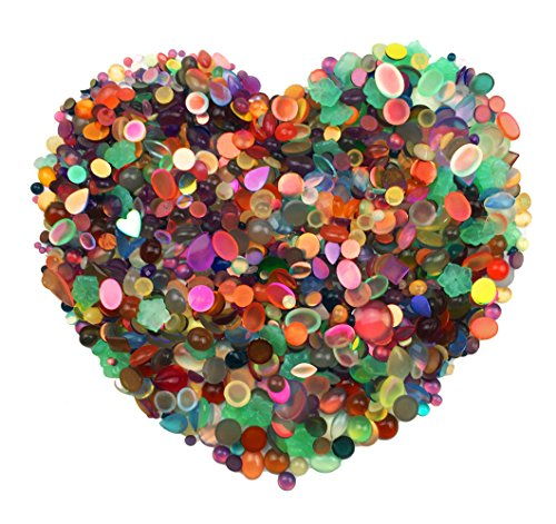 Hyamass 200 Gram (Approx 1400pcs) Assorted Flat Back Resin Charms Rhinestones Flatback Fancy Stones Sewing for Clothing, Wedding Dress Decorations, DIY Crafting, Jewelry Making Accessory