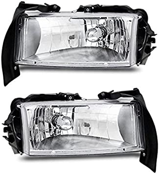Driver and Passenger Side Headlight Assembly for 97-04 Dodge Dakota 98-03 Dodge Durango Headlamp Replacement with Park Signal Lamp Crystal Housing Clear Lens One-Year Warranty