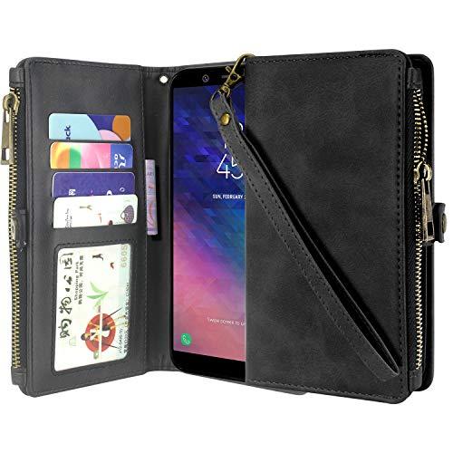 قاب Galaxy A6 (2018) Case، Lacass Premium Leather Flip Flip Zipper Case Cover Cover Stand ویژگی با دارنده کارت و بند مچ دست برای Samsung Galaxy A6 2018 (سیاه)