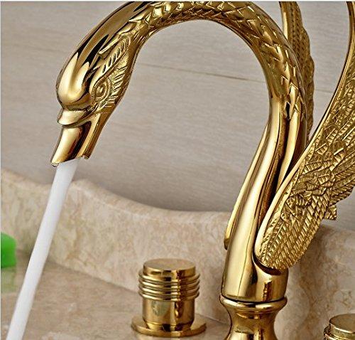 GOWE Swan Style Widespread Dual Handles Basin Sink Faucet Deck Mount 3 Holes Mixer Tap Golden Finish 2