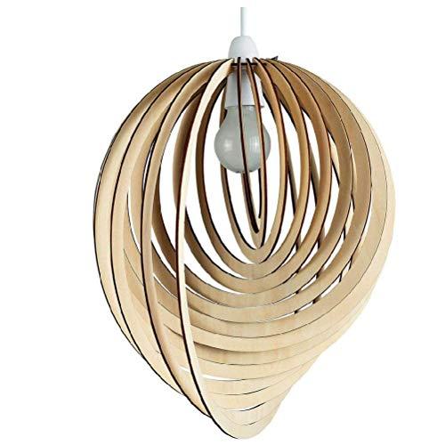 - BIN Modern Droplet Shaped Wooden Spiral Design Ceiling Pendant Light Shade,400