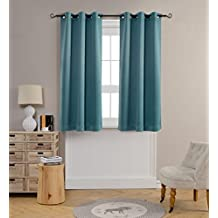 Mysky Home Grommet top Thermal Insulated Window Blackout Curtains for Dining Room, 42 by 63 inch, Teal (1 panel)