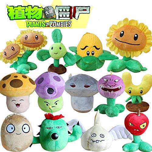 RAFGL 13Pcs/Lot 13-20Cm Plants Vs Zombies Plants Soft Stuffed Plush Toys Doll Games PVZ Plush Toy Brinque for Kids Thing You Must Have Friendship Gifts The Favourite Anime by RAFGL