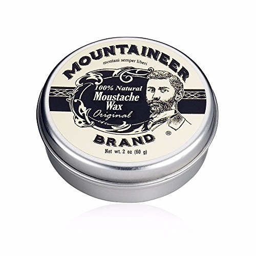 Handcrafted Tin - Mustache Wax by Mountaineer Brand - All-Natural, No Residue, Clear and Easy to Use, 2 oz Tin (Original)