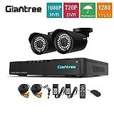 Giantree 720P Home CCTV System 4CH 720P Security DVR Recorder 2pcs HD 1.0MP 1280x720P Bullet Surveillance Cameras...