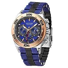 Fanmis Men's Outdoor Blue Silicone Band Chronograph Calendar Waterproof Quartz Wrist Watches Golden