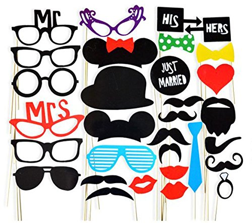 31 piece DIY Photo Booth Props,Mask for Wedding,Reunions,Birthdays and Family Party(Includes Wooden Sticks and Roundots )