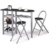Ensemble table haute de bar mange-debout et 2 chaises STYLE MDF noir