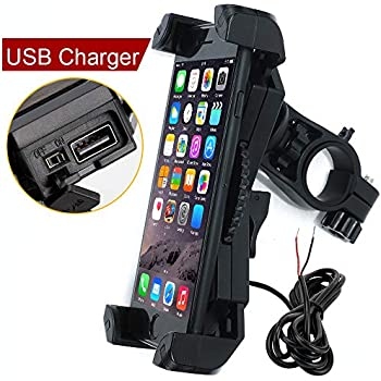 Leepiya Motorcycle Phone Mount with Charger 5V 2.4A USB Port Install on Handlebar/Mirror Bar, Cell Phone Holder Suit for iPhone XR Xs Max Xs X 8 7 6 Plus, ...
