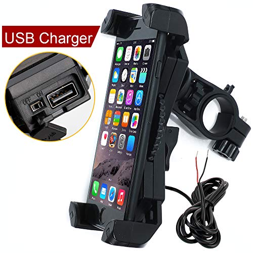 "Leepiya Motorcycle Phone Mount with Charger 5V 2.4A USB Port Install on Handlebar/Mirror Bar, Cell Phone Holder Suit for iPhone XR Xs Max Xs X 8 7 6 Plus, Galaxy S9 S8 Plus and All 3.5 to 6.5"" Phone"