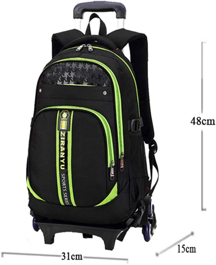 Children Aged 6-12 Boy and Girl Primary School Backpack Splash-Proof Oxford Fabric Detachable Three-Wheeled Trolley Rucksack Can Climb Stairs AXDNH Trolley Backpack for Kids