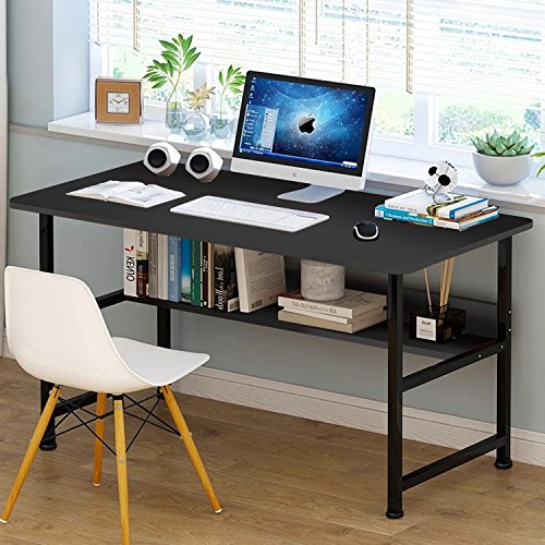 Jerry & Maggie - Wood & Steel Table Simple Plain Lap Desk Computer Desk Table Personal Working Space Lapdesk with 4 Steel Legs Stand Desk for Livingroom Bedroom Office - Black ()
