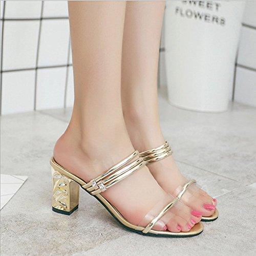 Sandales Talons Pantoufles Chaussures Transparent Open Femmes Slip Hauts Sandales Bling Or on Toe Femmes PCw0q7w
