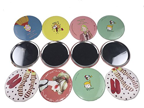 (12pcs OPCC lovely makeup mirror Compact Cosmetic Makeup Round Pocket Purse Hand Mirror,great gift)