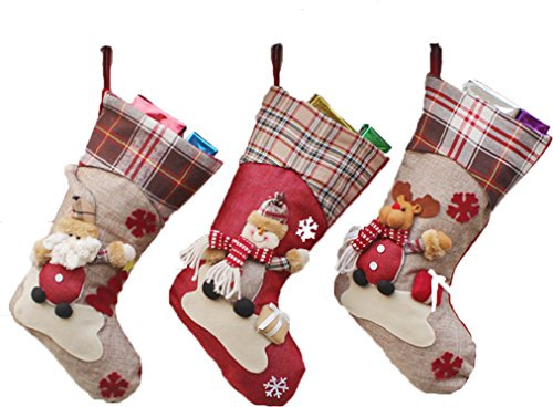 (3 Pack) Classic Christmas Stockings 18