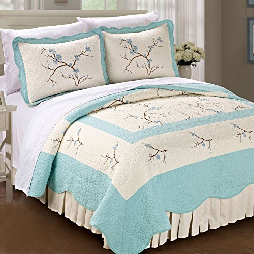 Serenta Classic Embroidery Prewashed Microfiber Cotton Filled Bedspread Quilt 3 Piece Bed Set, Queen, Light Blue Cherry Blossom (Three Blossom Light)