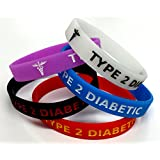 5x TYPE 2 DIABETIC diabetes Wristband MEDICAL AWARENESS ALERT BRACELET Glow in the Dark, Red, Black, Purple, Blue