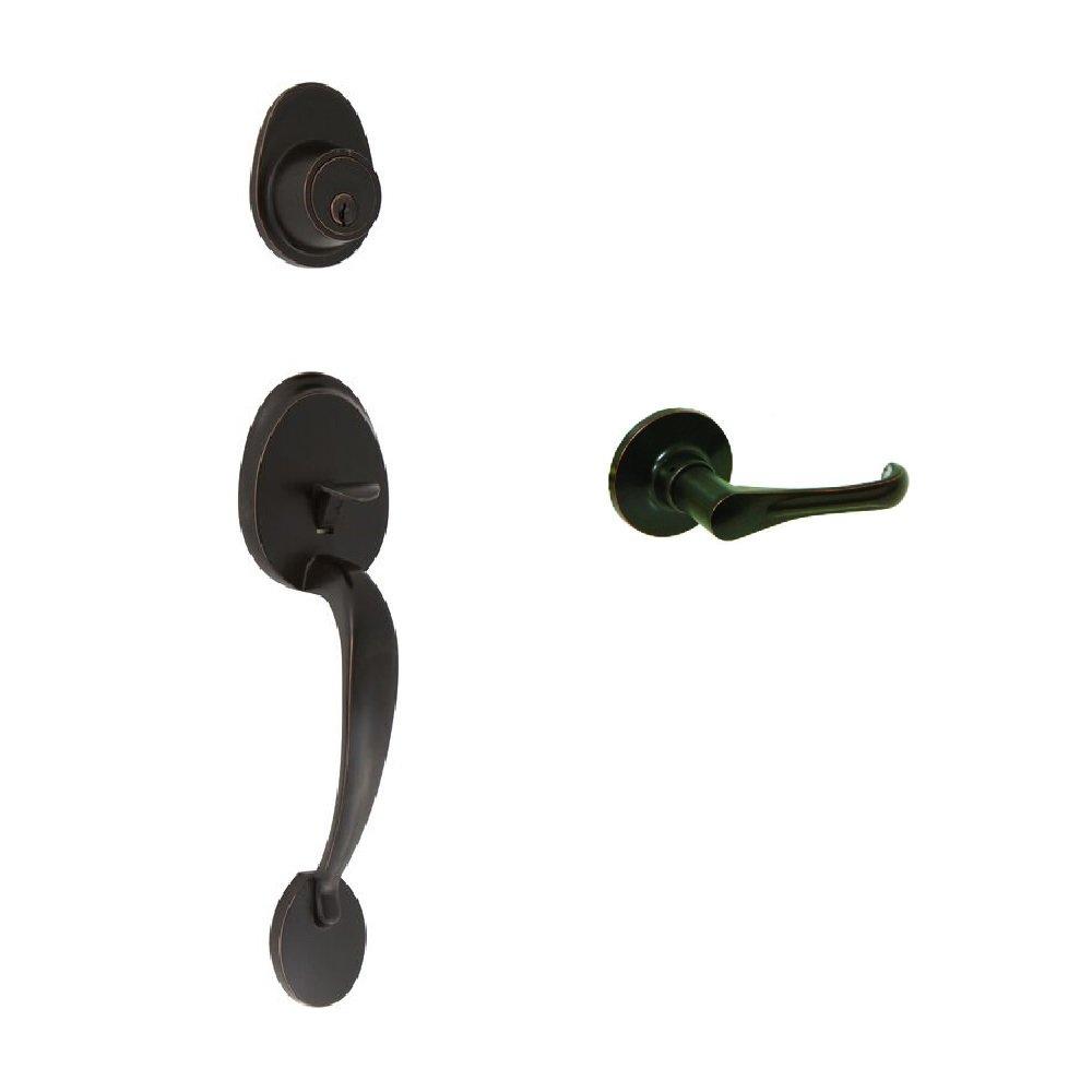 Oil-Rubbed Bronze EZ-Set 741109 Cornell Dummy Handleset with Vienna Lever