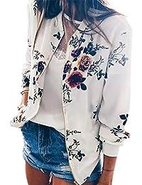 Womens Long Sleeve Zip up Floral Printed Classic Baseball Biker Bomber Jacket Short Coat