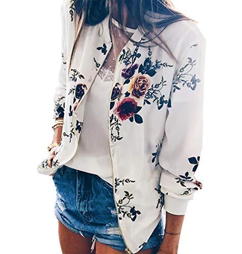 PRETTYGARDEN Women's Long Sleeve Zip up Floral Printed Classic Baseball Biker Bomber Jacket Short Coat (White, Small) by PRETTYGARDEN