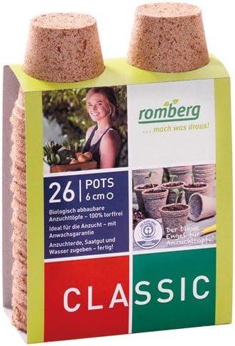 Maceta biodegradable Romberg redondo 6 cm Par 26: Amazon.es: Hogar