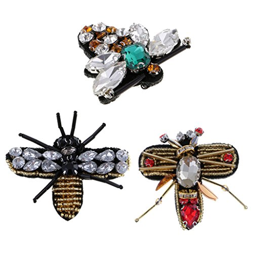 MonkeyJack 3 Pieces Rhinestone Beaded Insects Bee Sewing Patch for Crafts Clothing Decoration
