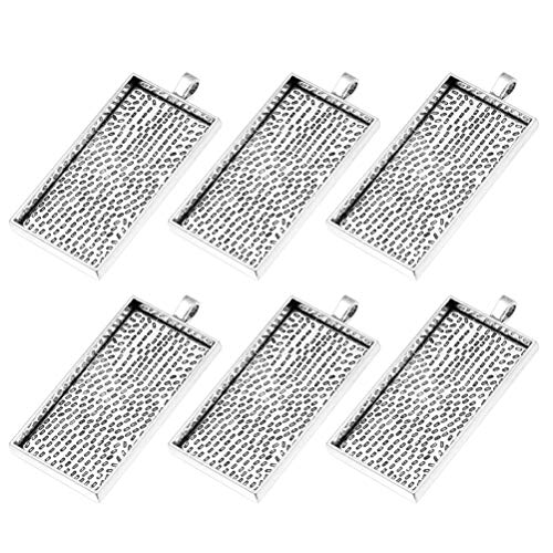 (Healifty 10Pcs Bezel Pendant Trays Rectangle Cabochon Settings Trays Pendant Blanks for DIY Jewelry Making Crafts Photo Pendant Making (Antique Silver))