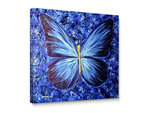 Blue Personalized Canvas (Niwo ART (TM) - Blue Butterfly, Floral painting Artwork - Giclee Wall Art for Home Decor,Office or Lobby, Gallery Wrapped, Stretched, Framed Ready to Hang (20