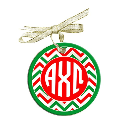 Greekgear Alpha Chi Omega Holiday Sorority Round Frosted Glass Ornament