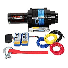 X-BULL 12V 4500LBS Electric Synthetic Rope ATV Winch Kits Off Road with Wireless Remote Control Mounting Bracket (H)