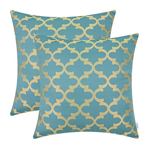 - CaliTime Pack of 2 Soft Throw Pillow Covers Cases for Couch Sofa Home Decor, Modern Quatrefoil Accent Geometric, 18 X 18 Inches, Teal/Gold