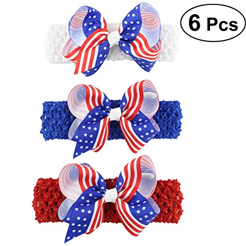 (Lurrose 6Pcs America Flag Headband USA 4th of July Hair Accessories Hair Bow Headband Elastic Hair Band for Kids Baby Girls)