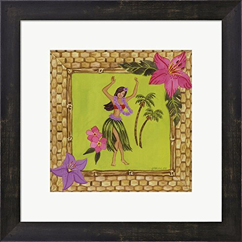 Tiki Girl I by Jennifer Brinley Framed Art Print Wall Picture, Espresso Brown Frame, 15 x 15 inches