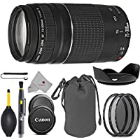 Canon EF 75-300mm f/4-5.6 III Telephoto Zoom Lens for Canon SLR Cameras 6473A003 (USA) Full Accessory Bundle Package Deal
